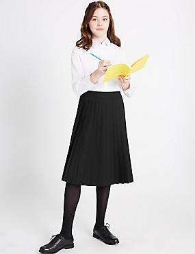 Senior Girls' Pleated Skirt, BLACK, catlanding