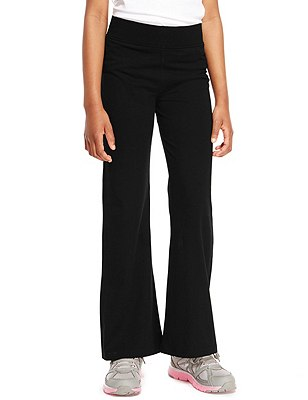 Girls' Cotton Rich Yoga Pants with StayNEW™ & Active Sport™, BLACK, catlanding