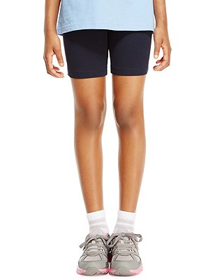 Girls' Cotton Rich Cycling Shorts with StayNEW™ & Active Sport™, NAVY, catlanding