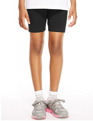 Girls' Cotton Rich Cycling Shorts with StayNEW™ & Active Sport™, BLACK, catlanding