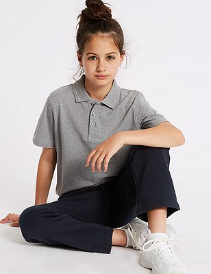 Girls' Cotton Rich Joggers with StayNEW™ & Active Sport™, NAVY, catlanding