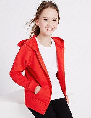 Girls' Cotton Rich Hooded Sweatshirt with StayNEW™ & Active Sport™, RED, catlanding