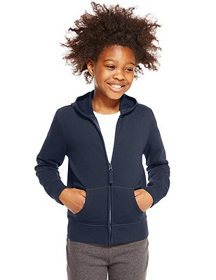 Girls' Cotton Rich Hooded Sweatshirt with StayNEW™ & Active Sport™, NAVY, catlanding