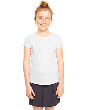 Girls performance Panelled T-Shirt with Active Sport™, WHITE, catlanding