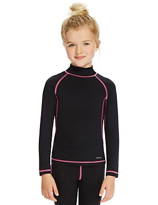 Girls' Base Layer Long Sleeve T-Shirt, BLACK, catlanding