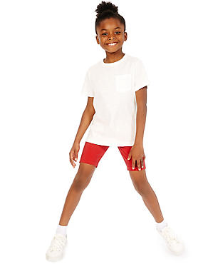 2 Pack Girls' Cotton Cycle Shorts with Stretch, RED, catlanding