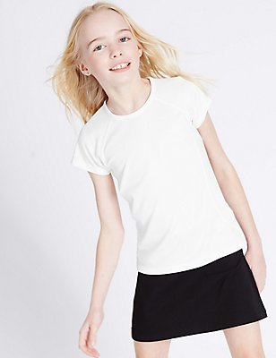 Girls' Performance Sports T-Shirt, WHITE, catlanding