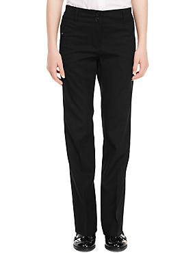 Girls' Zip Pocket Slim Leg Trousers in Longer & Shorter Lengths with Zip Pocket & Triple Action Stormwear™, BLACK, catlanding