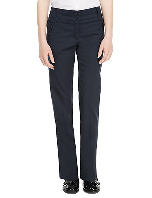 Girls' Slim Leg Trousers with Zip Pocket & Triple Action Stormwear™, NAVY, catlanding