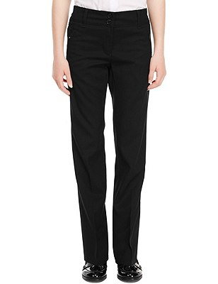 Girls' Slim Leg Trousers with Zip Pocket & Triple Action Stormwear™, BLACK, catlanding