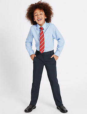 Girls' Slim Leg Trousers, NAVY, catlanding
