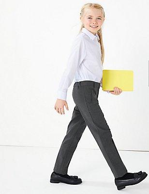 Girls' Slim Leg Slim Fit Trousers, GREY, catlanding