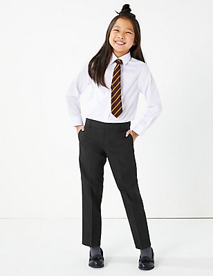 2 Pack Girls' Crease Resistant Trousers, BLACK, catlanding