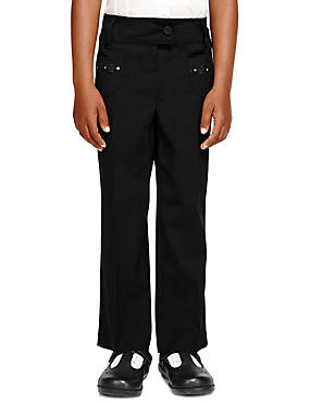 Girls' Junior Embroidered Trousers with Triple Action Stormwear™, BLACK, catlanding