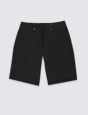 Girls' Shorts with Adjustable Waist, BLACK, catlanding