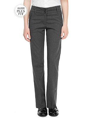 Plus Fit Girls' Crease Resistant Zip Pocket Trousers with Stormwear™, GREY, catlanding
