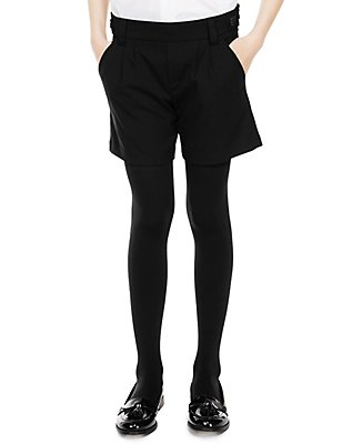 Girls' Side Button Crease Resistant Shorts with Triple Action Stormwear™, BLACK, catlanding