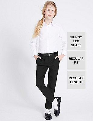 Girls' Skinny Leg Belted Trousers, BLACK, catlanding
