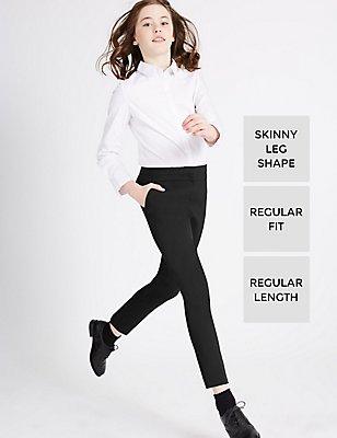 Senior Girls Skinny leg Trousers with Triple Action Stormwear™, BLACK, catlanding