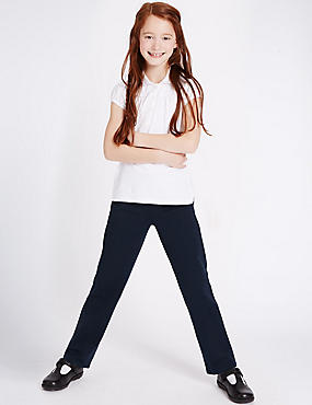 Girls' Cotton Rich Regular Leg Trousers, NAVY, catlanding