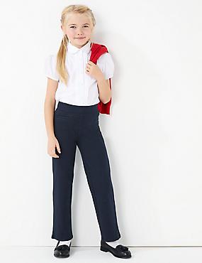 Girls' Cotton Knitted Trousers, DARK NAVY, catlanding