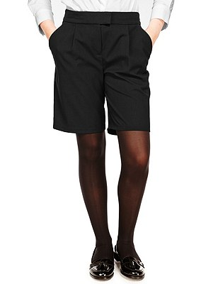 Senior Girls' Crease Resistant Adjustable Waist Shorts with Triple Action Stormwear™ (Older Girls), BLACK, catlanding