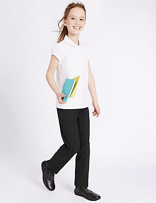 Girls' Slim Leg Crease Resistant Trousers, BLACK, catlanding