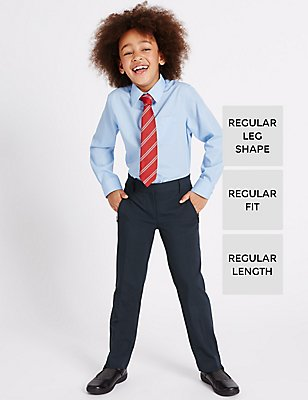 Girls' Slim Leg Crease Resistant Trousers, NAVY, catlanding