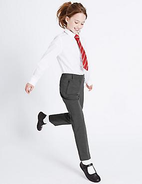 Girls' Slim Leg Crease Resistant Trousers, GREY, catlanding
