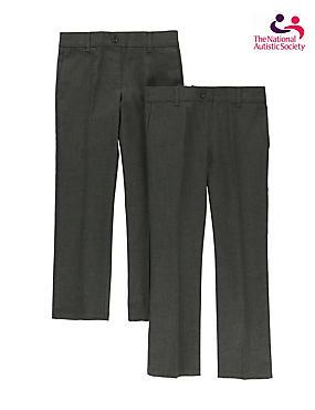 2 Pack Girls' Easy Dressing Trousers, GREY, catlanding