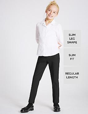 Girls Slim Fit Slim Leg Zip Pocket Trousers, BLACK, catlanding