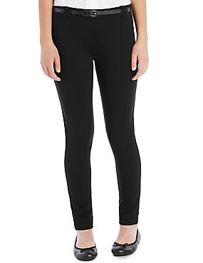 Senior Girls' Skinny Leg Belted Trousers (Older Girls), BLACK, catlanding