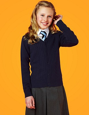 Girls' Cotton Rich Cable Knit Cardigan with StayNEW™, NAVY, catlanding