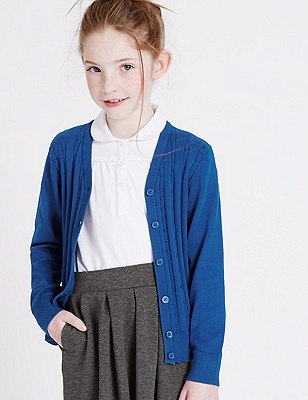 Girls' Cotton Rich Cable Knit Cardigan with StayNEW™, BLUE, catlanding