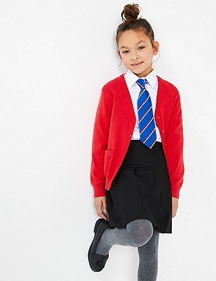 Girls' Cotton Rich Cardigan with StayNEW™, RED, catlanding