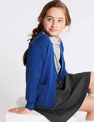 Girls' Cotton Rich Cardigan with StayNEW™, BLUE, catlanding