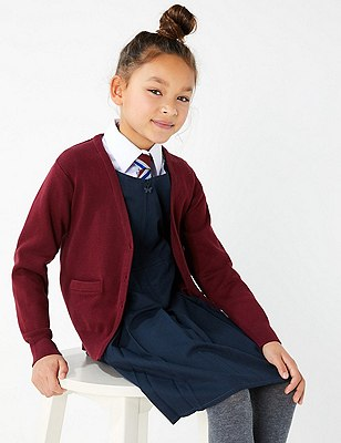 Girls' Cotton Rich Cardigan with StayNEW™, BURGUNDY, catlanding
