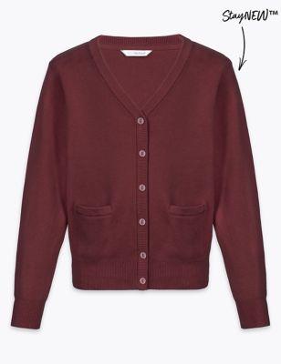 Хлопковый школьный кардиган StayNEW™ для девочки от Marks & Spencer