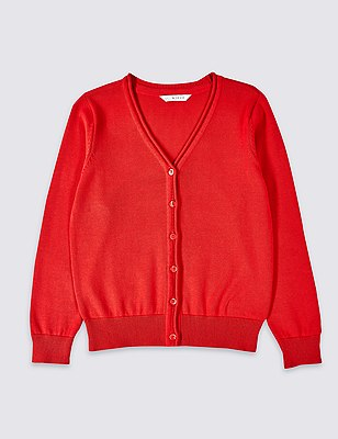Girl's Outstanding Value Pure Cotton V-Neck Cardigan with StayNEW™, RED, catlanding