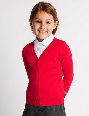 Hello Kitty Girls' Pure Cotton Cardigan with StayNEW™, RED, catlanding