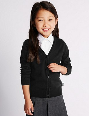 Hello Kitty Girls' Pure Cotton Cardigan with StayNEW™, BLACK, catlanding
