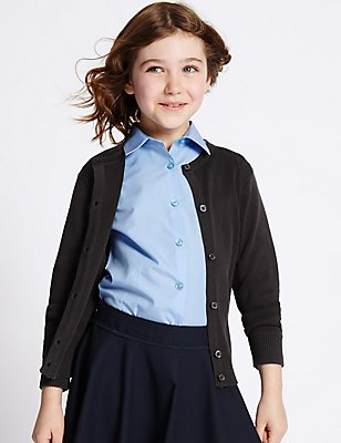 Girls' Cotton Rich Cardigan, DARK NAVY, catlanding