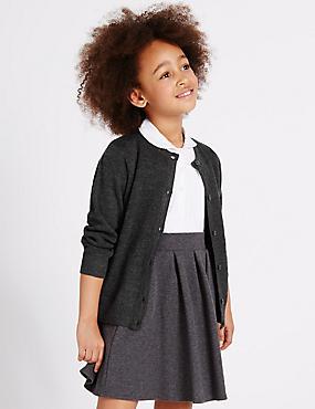 Girls' Wool Blend Button Through Cardigan, GREY, catlanding