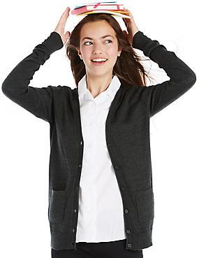 Girls' Wool Blend Boyfriend Cardigan, CHARCOAL, catlanding
