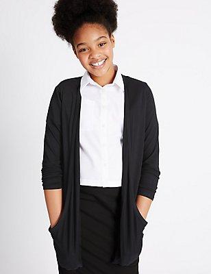 Senior Girls' Cardigan, BLACK, catlanding