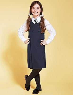 Girls' Double Breasted Pinafore with Triple Action Stormwear™, NAVY, catlanding