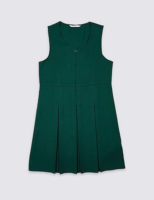 Girls' Traditional Pinafore with Permanent Pleats with Triple Action Stormwear™, BOTTLE GREEN, catlanding