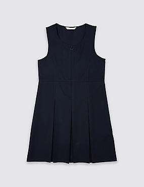 Girls' Permanent Pleated Pinafore, NAVY, catlanding