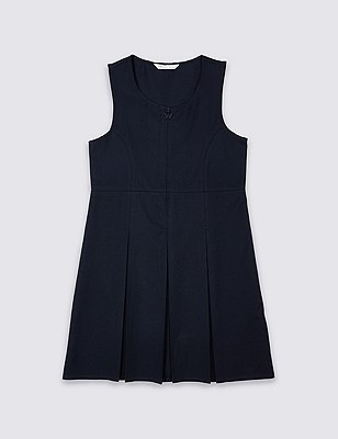 Girls' Traditional Pinafore with Permanent Pleats with Triple Action Stormwear™, NAVY, catlanding