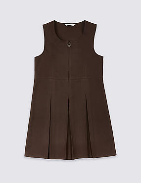 Girls' Permanent Pleated Pinafore, BROWN, catlanding